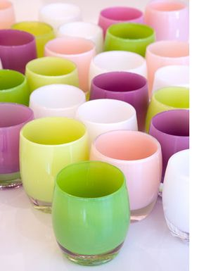 contemporary design with a good cause, contemporary glass cups with a good cause, glassybaby, hand-blown glass cups, local glass design, socially conscious glass cups, socially responsible glass candleholder, socially responsible glass cups, socially responsible votives