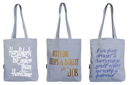 eco-chic shopping bags, eco-modern shopping bags, bags for a social cause, Homeboy Industries, Artecnica, Homeboy Bags, Homeboy Tote Bags, reusable bags with slogans, Homeboy Industries screen-printing shop, cool canvas tote bags, Design w/Conscience