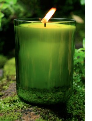 eco-chic candles, eco-modern candles, eco-friendly candle design, candles made out of recycled glass, candles made of recycles wine bottles, green glass design, candles made of recycled beer bottles, sustainable glass design