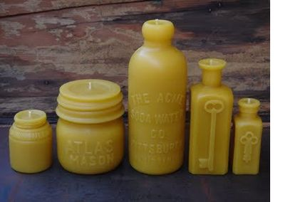 eco-chic candles, paraffin-free candles, green decor, eco-chic gifts, eco-chic decor, eco-friendly candles, Pollen Arts, Kelly Green Home, green light district Santa Monica, green light district, beeswax candles, non-toxic candles, antique bottle-shaped beeswax candles